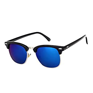 Pro Acme Classic Semi Rimless Polarized Clubmaster Sunglasses with Metal Rivets (Black/Z Blue, As Shown)