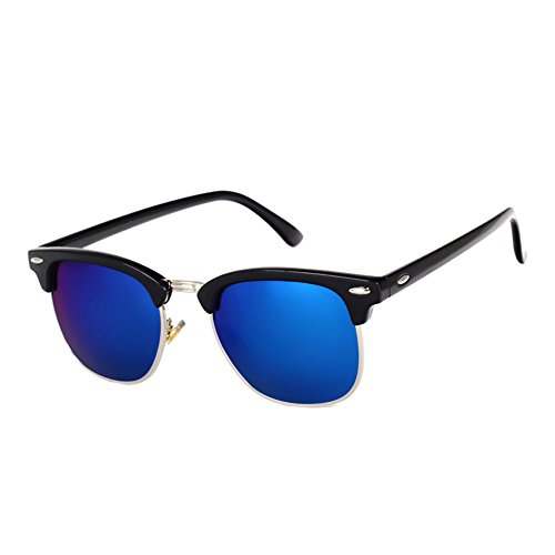 (Pro Acme Classic Semi Rimless Polarized Sunglasses with Metal Rivets (Blue Mirror))
