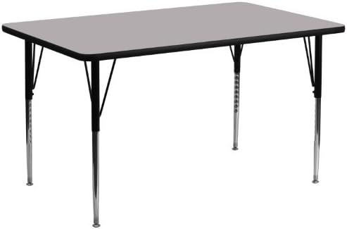 Flash Furniture 30 W X 72 L Rectangular Grey Thermal Laminate Activity Table Standard Height Adjustable Legs Furniture Decor