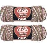 Bulk Buy: Red Heart Super Saver (2-Pack) (Pink Camo, 5 oz Each Skein) (Pink Camo Baby Yarn)
