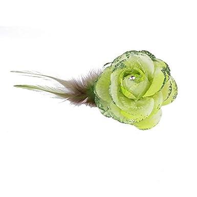 Bleu, Rose, Vert, Beige, Rouge, Violet, Gris, Jaune Pince Broche Mariage Fleur Tissu Scintillant Strass