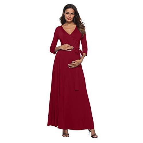 BBsmile Ropa Embarazadas Vestido de Cintura Alta para Mujer con Cuello V para Embarazadas Cinturón de Cintura de Maternidad Vestido Largo: Amazon.es: Ropa y ...