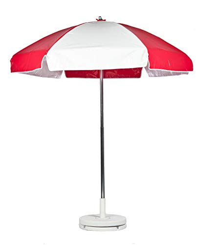 6.5' Striped Lifeguard Umbrella Fabric: Red and White Heavy Gauge Vinyl, Tilt: With Tilt