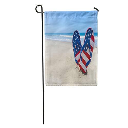 Semtomn Garden Flag Blue July Patriotic USA Flip Flops Sandy Beach Red 4Th Home Yard House Decor Barnner Outdoor Stand 28x40 Inches Flag (Flop Usa Flip Patriotic)