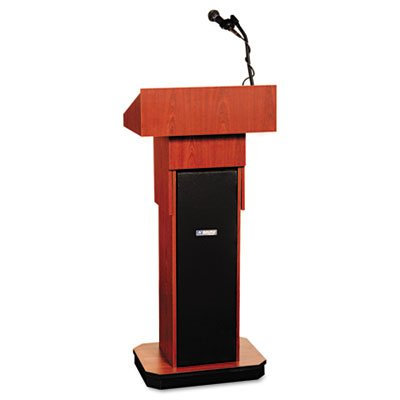 (Amplivox Wireless Executive Adjustable-Height Sound Column Lectern - Mahogany - Mahogany)
