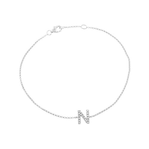 14k White Gold Diamond Studded Letter ''N'' Initial Bracelet, 7.5'' by Isha Luxe-Initials