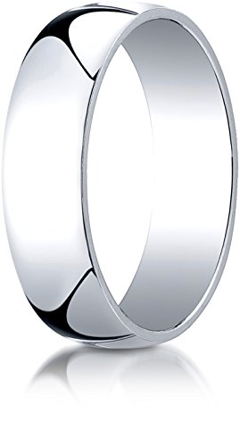 Benchmark 14K White Gold 6mm Low Dome Light Wedding Band Ring , Size 8.25 ()