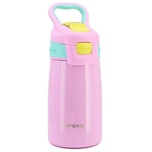 TOPOKO AUTO FLIP 12 OZ Stainless Steel Kids Water Bottle for Girls Double Wall Beverage Carry Kid Cup Vacuum Insulated Leak Proof Thermos Handle Spout BPA-Free Sports Bottle for Boys (Coral)