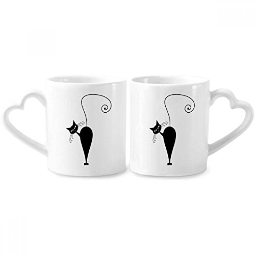 Black Cat Halloween Animal Art Silhouette Couple Mugs Ceramic Lover Cups Heart Handle 12oz Gift ()