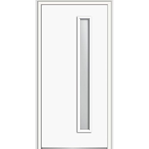 National Door Z0352677R Right Hand In-swing Exterior Prehung Door, Frosted 1-Lite, Steel, 32'' x 80'', Brilliant White by National Door Company