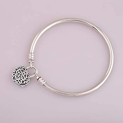 1a2258ce9 Image Unavailable. Image not available for. Color: FelixStore 925 Sterling  Silver Bracelet Bangles for Women Smooth Silver Padlock Regal Heart ...
