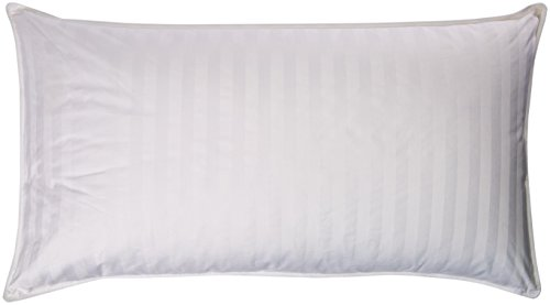 Royal Luxe Unisex Damask Stripe White Down King Pillow White