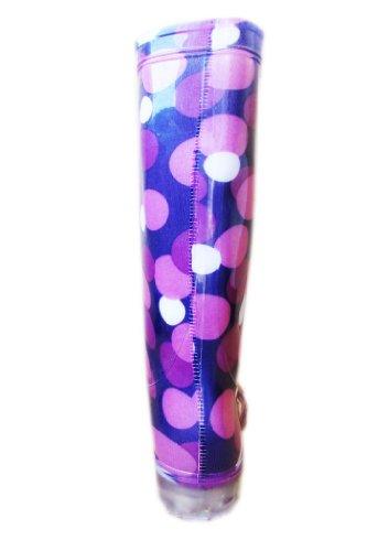 Damen Gummistiefel, violetter Hintergrund mit violetten weißen Pünktchen Violett