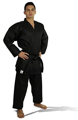 (adidas Student Karate White & Black 8oz Uniform/Gi with Free Belt WKF Approved Sizes 0000 to 7 (Black, 2 (5