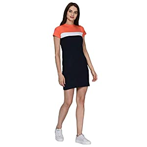 RIGO Blue Cotton Knited Striped Half Sleeves Above Knee Length Dress for Women