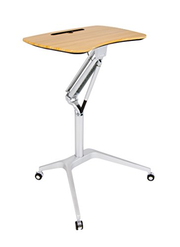 - Calico Designs 51235.0 Ridge Mobile Desk with Sit to Stand Up Pneumatic Cart, Silver/Maple