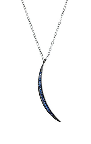 Pave Blue Sapphire Micro Crystal Thin Crescent Moon Pendant Necklace - 17.5