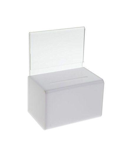 White Donation Box w/Sign Holder and Lock by SOURCEONE.ORG