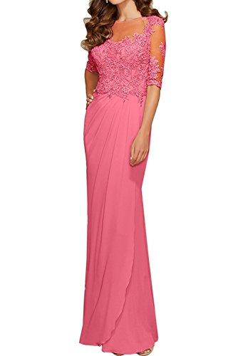 mia Rot Wassermelon Festlichkleider Abschlussballkleider Langarm Braut Promkleider Damen Spitze Partykleider La Abendkleider dZEqad