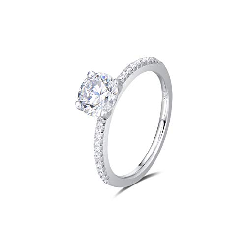 Agvana Wedding Engagement Promise Ring Rhodium Plated 925 Sterling Silver Solitaire Round Brilliant Cut Cubic Zirconia CZ Four Prongs Design Jewelry for Wife Lover Girlfriend Her, Size 6