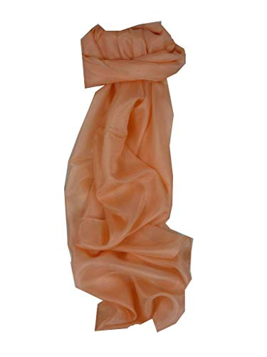 Dyed Mulberry - Mulberry Silk Hand Dyed Long Scarf Apricot from Pashmina & Silk