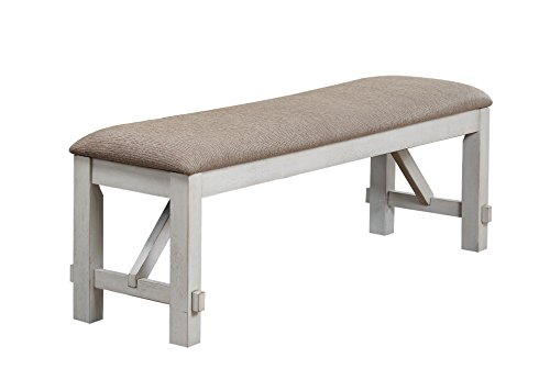 Fabric Room Bench Dining (Acme Furniture 74663 Apollo Bench, Antique White)