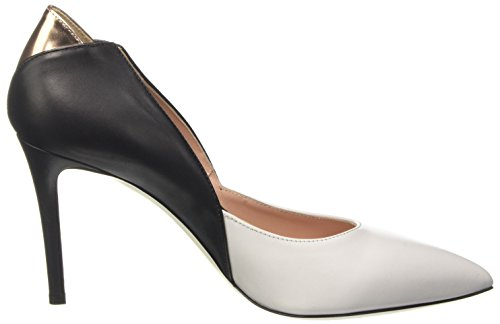 Pollini Damen Pc85 Pumps Multicolore (White Calf-Black Calf-Quartz Lamè Calf)