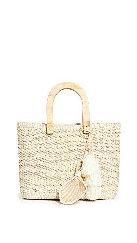 Sensi Studio Women's Canasta Wooden Handle Bag, Nautral, Off White, Tan, One Size