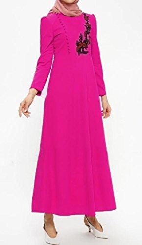 Coolred-femmes Manches Longues Abaya Musulman Arab Broderie De Grande Hauteur Florale Une Robe De Ligne Rosered