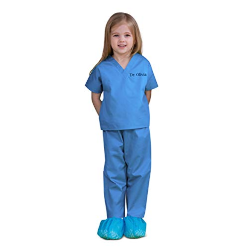 Scoots Scrubs - Personalized Scrubs for Baby, Size 0-6 Months, Blue