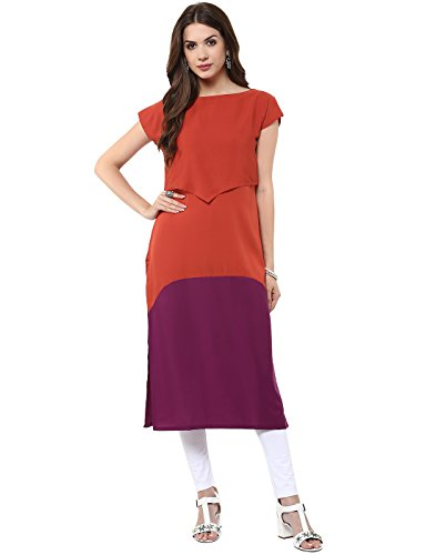 Janasya Women's Red Indo Western Crepe Kurti,Red,Small