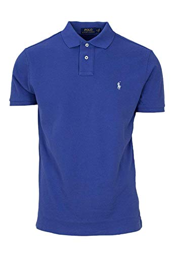 Polo Ralph Lauren Men Custom Fit Mesh Pony Logo Shirt (L, Turquoisehth) Blue Heather ()