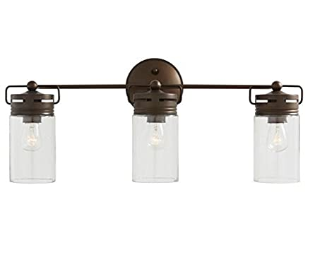 Allen + Roth 3 Light Vallymede Aged Bronze Bathroom Vanity Light Clear  Glass .#