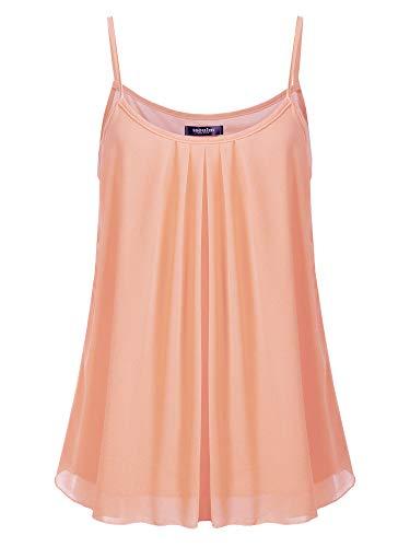(SSOULM Women's Sleeveless Pleated Chiffon Layered Cami Tank Top Blouse Blush M)