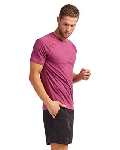 (Rhone Reign Short Sleeve Pyrenees Pink Heather X-Large | Workout Shirts for Men with Anti-Odor, Moisture Wicking Technology)