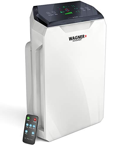 WAGNER Switzerland Air Purifier HM886 for Large Rooms Removes Mold, Odors, Dust, Smoke, Allergens, Germs and Pet Dander. True HEPA Filter 5-Stage Purification. Smart i-Sense air Quality Monitor.