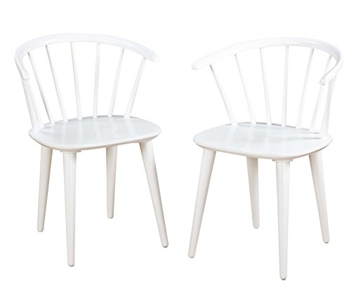 Target Marketing Systems Set of 2 Florence Dining Chairs with Low Windsor Spindle Back, Set of 2, White