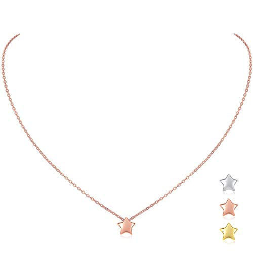(Rose Plated Sterling Silver Mini Star Pendant Necklace for Women Girls, 16'')