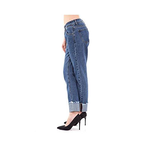 Donna Da Fit Jeans Orlo Slim Blu Sfilacciato Pantaloni Denim Tasche Con 5 pq14w6