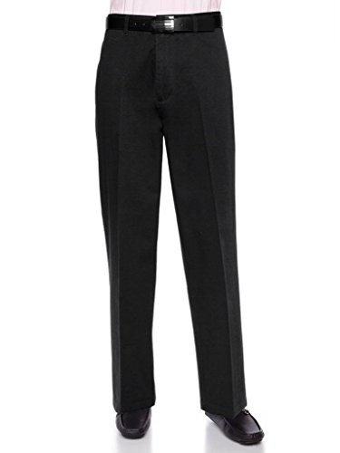 AKA Men's Wrinkle Free Cotton Twill - Traditional Fit Slacks Flat-Front Work Pants Black 56 X-Short