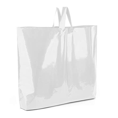 19x15 Large Boutique Merchandise Bags 3 Mil Extra Thick, 60 Pack White Glossy Plastic Gift Shopping Bags with Handles and Bottom Gusset, for Retail Clothing Grocery Store Lularoe Trade Shows
