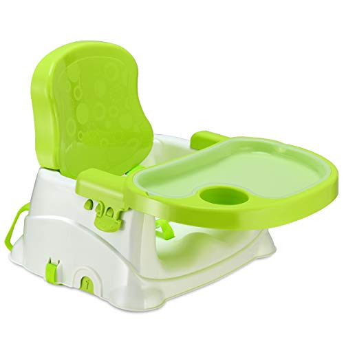 Costzon 2 in 1 Chair Booster Seat for Baby Infant, Portable Adjustable W/Tray Cup Holder Safety Belt, Toddler Feeding Floor Seat (Green) ()