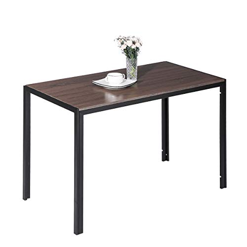 Wood Dining Table, Alecono Modern Dining Room Table for Family Wooden Kitchen Table with Sturdy Heavy Steel Fram-Rectangular-Table Only-Brown