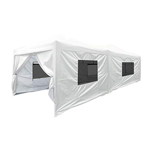 Quictent Privacy 10×20 EZ Pop Up Canopy Tent Party Tent Outdoor Event Gazebo Waterproof with 6 Sides Roller Bag White