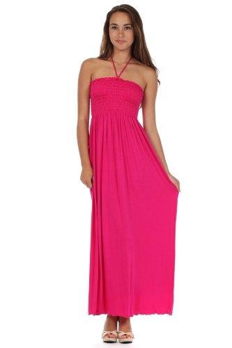 Sakkas 5026 Comfortable Jersey Feel Solid Color Smocked Bodice String Halter Maxi/Long Dress - Pink/Medium