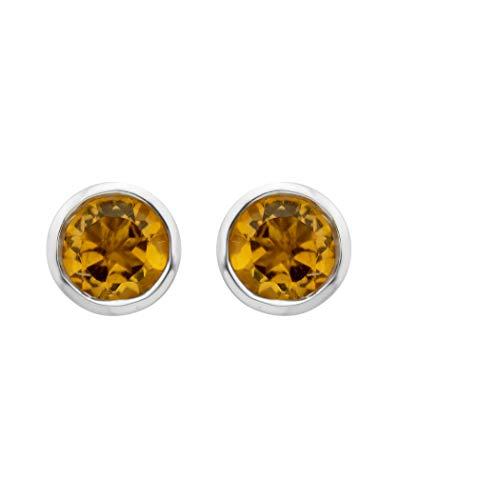 .925 Sterling Silver Citrine Gemstone Petite 4mm Bezel Cup Set Stud Earrings - November Birthstone
