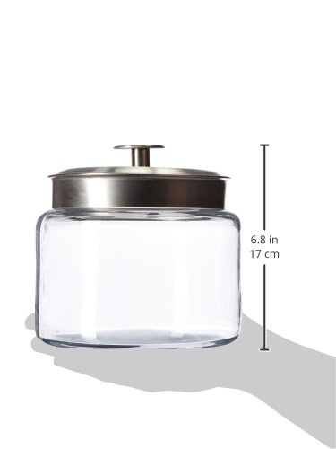 Anchor Hocking Montana Glass Jars with Fresh Sealed Lids, Brushed Metal, 64 oz (Set of 2)