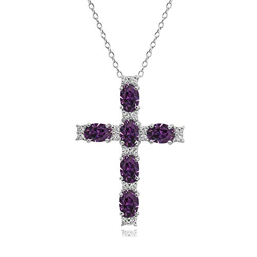 (Sterling Silver Purple Oval-Cut Cross Religious Pendant Necklace Made with Swarovski Crystals)