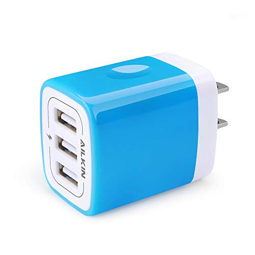 USB Charger Multi Port, Ailkin Micro USB Charger Charging Block USB Wall Plug Travel Charger Outlet Fast Charger Brick USB Charging Block Compatible iPhone iPad, iPhone, and iWatch (Blue/3Port)