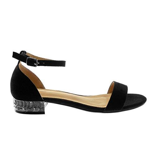 Angkorly Women's Fashion Shoes Sandals - Ankle Strap - Rhinestone - Thong Block Heel 2.5 cm Black FcJcdxQq